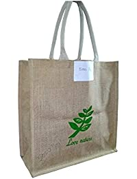 Pooja Bags Jute Shopping Bag Love Nature Printed Set Of 2 PCs (Green, Size: 12*10*6 Inches)
