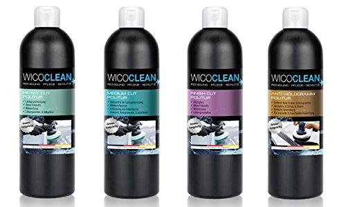 Preisvergleich Produktbild Wicoclean Politur Set Schleifpaste - Heavy Cut - Medium Cut - Finish Cut - Anti - Hologramm Politur 4x 500 ml Lackpflege Set