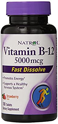 Natrol Vitamin B-12 Fast Dissolve, Strawberry Flavour, 5000mcg, 100 Tablets by Natrol