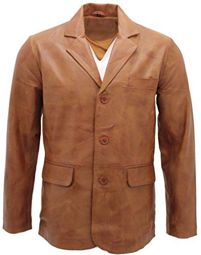 Männer schick Bräunen 3-Knopf Einreiher Jacke S (Mit Einreiher Drei-tasten-anzug)
