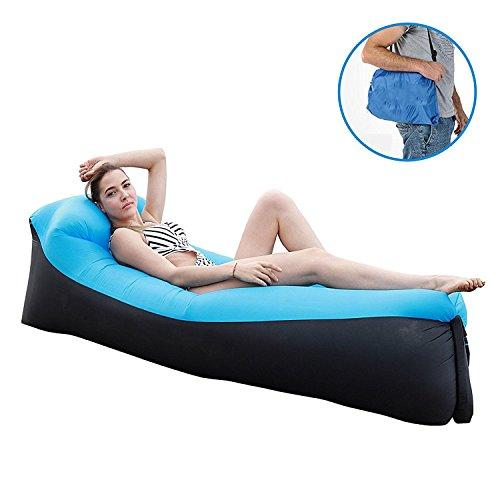 Aufblasbarer Lounger,Aufblasbare Couch wasserdichtes aufblasbares Sofa mit integriertem Kissen,Aufblasbare Liege,für Camping, Park, Strand, Hinterhof (Blau)