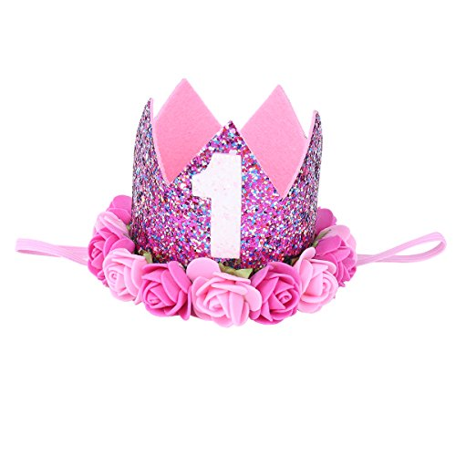 dPois Baby Mädchen Jungen Haarschmuck Krone 1/2 1. 2. Geburtstagsfeier Stirnbänder Babyschmuck Kids Prinzessin Haarband Kopfschmuck Accessoires 1. Rose One_Size