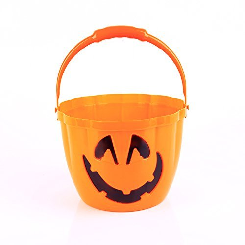 Halloween Tragbare K?rbis Eimer Light Skull Head Bucket candy box Halloween Dekoration K?rbis Lichter, orange Face (Halloween Eimer Candy)