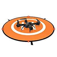 Win Power Drone Landing Pad with LED Night Lights, Waterproof Universal 75cm 30 inches Foldable Landing Pad for DJI Mavic Pro, DJI Spark, RC Drones Helicopter and More (Orange Blue)