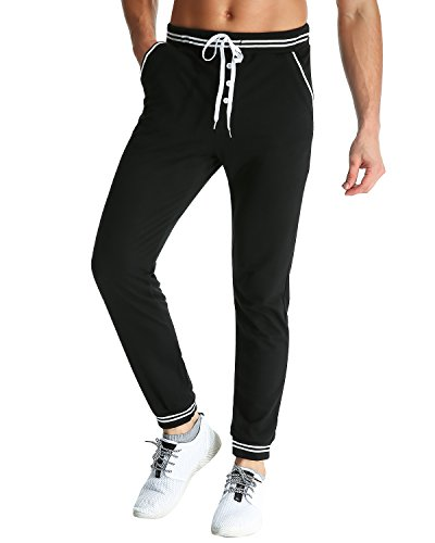 MODCHOK Herren Jogginghose Lange Sport Hose Fitnesshose Cargo Traininghose Pants Schwarz