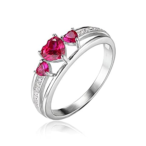 JewelryPalace Love Heart 0.9ct Created Red Ruby 3 Stones Anniversary Promise Ring 925 Sterling Silver Size N