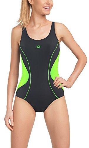 Gwinner Damen Badeanzug - für Sport und Freizeit - ideale Passform, resistent gegen UV und Chlor - herausnehmbare Körbchen - Perfect, Graph/grün, 36