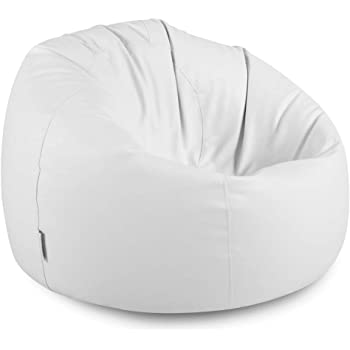 Bean Bag Bazaar Luxury Faux Leather Panelled XL Bean Bag Chair - Extra  Large Bean Bags (White) 9f8e67211c234