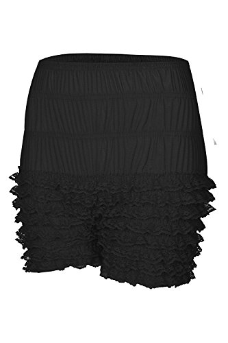 FOLOBE Damen Lace Leggings sexy mehrschichtige Rüschen Panties Sexy Pettipants Shorts (Rock Dance Langen Schwarzen Square)