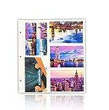 ARPAN, 20 Fogli di Ricarica per Album fotografici da 15,2 x 10,2 cm, 200 Fogli ad Anelli