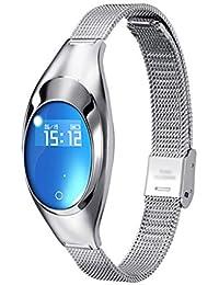 QAR Pulsera Inteligente para Mujer Joyería Deportiva Reloj Monitorización Frecuencia Cardíaca Presión Arterial Sueño Multifunción Bluetooth