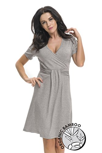 dn-nightwear Damen Umstandsnachthemd / Stillnachthemd BAMBOO Dunkelgrau