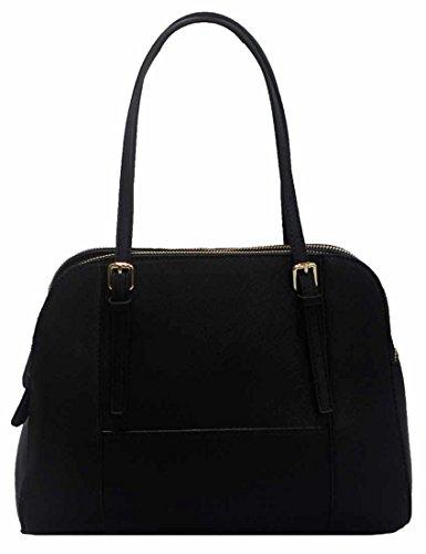 Kukubird Fallon Classico In Ecopelle Con Fibbia Cinturino Dettaglio Top-manico Spalla Tote Handbag Black