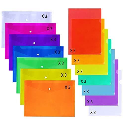supla 42PCS 2Arten Poly Snap Briefumschläge Kunststoff Dokument Ordner Umschlag mit Druckknopfverschluss und L-Type Dokument Project Taschen-Klar Kunststoff-US Brief Größe A4Größe-7Farben (21 Pocket-datei-ordner)