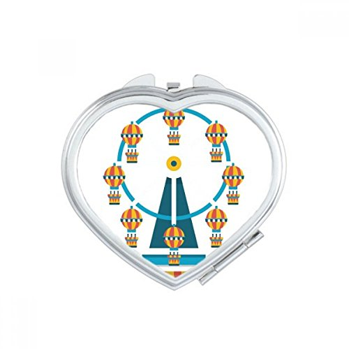 DIYthinker Incroyable Funny Park Carousel Illustration de Coeur Miroir Compact Maquillage Portable Mignon Cadeau Miroirs de Poche à la Main Multicolor