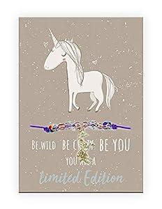 Pracht Creatives Hobby 6014-08155 Pulsera con Colgante de Unicornio y Tarjeta con Texto a Juego, Ideal como Detalle pequeño o como Regalo, para Sus Seres Queridos, Amigos y Familiares