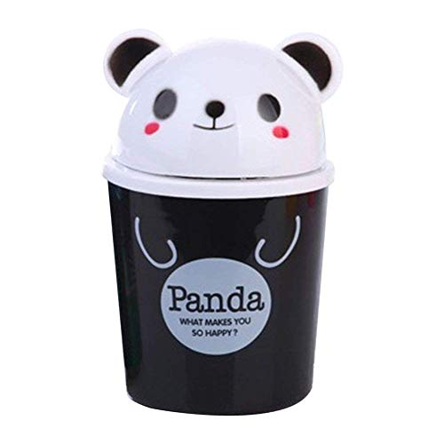 KANKOO Tisch Mülleimer Desktop-Speicherfässer Mini Waste Bin Mini-Mülleimer Abfalleimer Desktop-Müllkorb Runder Kleiner Mülleimer Mülleimer mit Deckel Panda