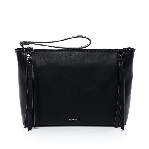 FEYNSINN Clutch mit langem Schultergurt Leder Jemma Zip Abendtasche Damen Umhängetasche echte Ledertasche Damentasche schwarz