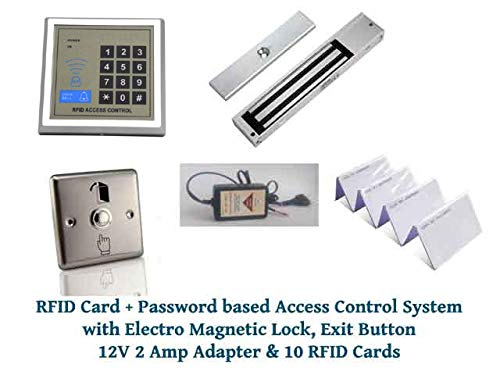 NAVKAR SYSTEMS RFID Card + Password Based Access Control System with Electro Magnetic Lock, Exit Button, 12 v 2 Amp Adapter and 10 RFID Cards