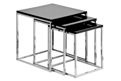 Premier Housewares - Juego de 3 mesas encastrables con Estructura cromada (Alto Brillo, 42 x 40 x 40 cm)