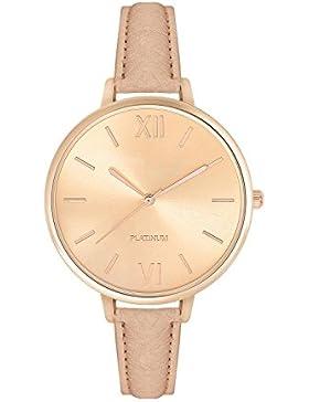 Armbanduhr Damenuhr Bloggeruhr Trenduhr Edelstahl Uhr Uhren Günstig Quarzuhr Designer Farbe: Creme Beige / Gold...