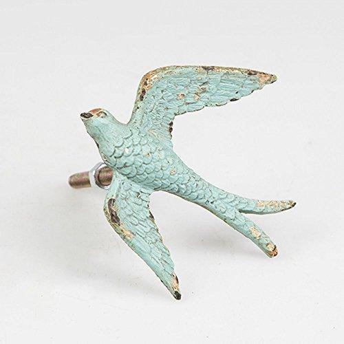 Vintage Chic de caza Swallow cajón armario para parte inferior del tirador para puerta con forma de pájaro - envejecido azul