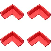 Borde de la esquina PIXNOR 4pcs NBR espuma bebé seguridad cojines Protector de escritorio mesa de guardia de cubierta (rojo)