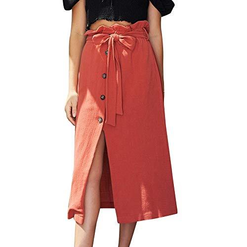 PinkLu Röcke Damen Leinen ÜBer Dem Knie Einreihiger Schlitz Und Wadenrock Urlaub Am Meer Elegant Und Bequem Mode Sommer Neuer HeißEr Roter Röcke
