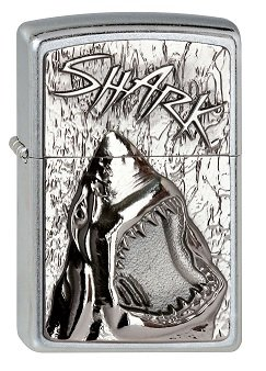 Zippo 2.003.238 Feuerzeuge Shark Emblem - Collection 2013 - Street chrom
