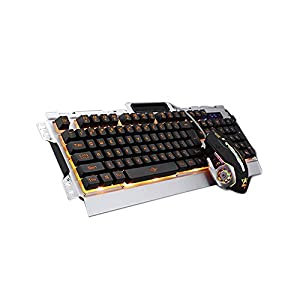 Gaming-Tastatur und -Maus von Iflying, Tastatur mit Hintergrundbeleuchtung in 3 Farben, USB-Kabel, Set mit Mauspad (deutsches Layout nicht garantiert)