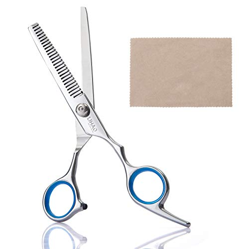 """LIHAO Ciseaux à Effiler Professionnel, 6"""" Ciseaux de Coiffure, Ciseaux Barber Salon en Acier Inox pour Cheveux avec Chiffon"""