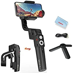 Moza Mini S Pliable 3-Axe Gimbal Stabilisateur pour Smartphone iPhone X 8 7 Plus Samsung S8 Huawei P10,Charge utile 260g,Commande de zoom / mise au point à un bouton,Hyper-Lapse,Ralenti,Début,vertige