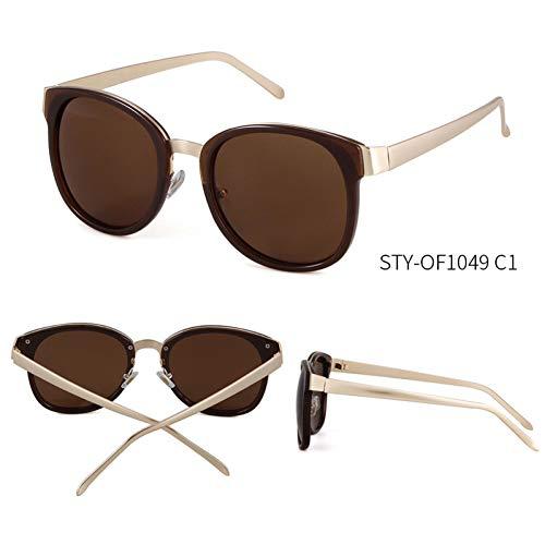 Taiyangcheng Gafas de sol Con Espejo ovalado para Mujer Gafas de sol Con montura metálica para Hombres Gafas al aire Libre,C1
