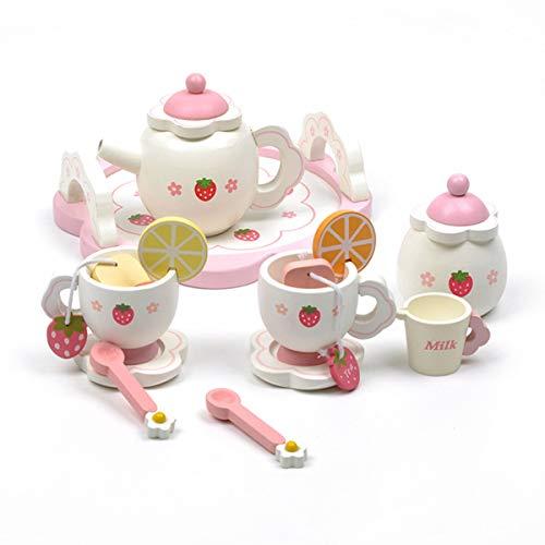 WishY Kinder Tee Set Spielzeug Tee Set Spielhaus Teeservice Hölzern Erdbeere Nachmittagstee Kinder Spielzeug Tee-set Boxed