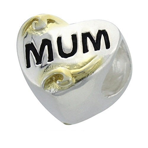 & in oro 9 kt in argento Sterling con ciondolo a forma di cuore, con scritta