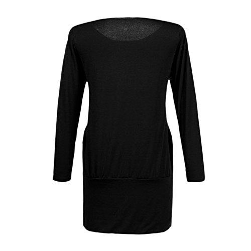 Chouette Robe Sexy Femme Manches Longues Coeur Imprimé Col Rond Casual Shirt Noir