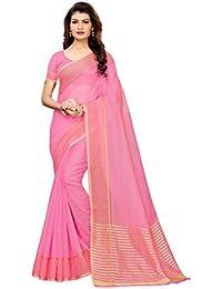 GoSriKi Cotton Saree with Blouse Piece (CLUB-PINK_Pink_Free Size)