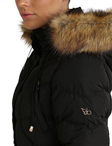 Berydale Damen Wintermantel mit abnehmbarer Kapuze Schwarz (Schwarz)