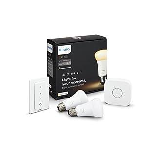 Philips Hue White Ambiance E27 LED Lampe Starter Set, zwei Lampen inkl. Bridge und Dimmschalter, dimmbar, alle Weißschattierungen, steuerbar via App, kompatibel mit Amazon Alexa (Echo, Echo Dot)