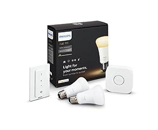 Philips Hue Kit de Démarrage - Lumière blanche à intensité et nuances de blancs variables (chaud ou froid) avec 2 X E27 9,5 W [Pont et Interrupteur avec Variateur Inclus] - Fonctionne avec Alexa (B01DQORJBE) | Amazon Products