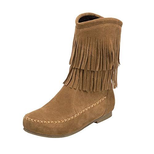 YWLINK Mode Damen Quaste Stiefel Mit Niedrigem Zylinder Schrubben Damenstiefel Cowboy Klassisch MäDchen Flache Stiefel Basic Mittlere Stiefel(35 EU,Gelb)