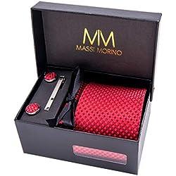 MASSI MORINO Herren Designer Krawatte - Box Set mit Einstecktuch, Manschettenknöpfe und Krawattennadel, handgenäht aus Mikrofaser Kunstseide in Verschiedene Farben, inkl. Geschenkbox (Rot - Kariert)