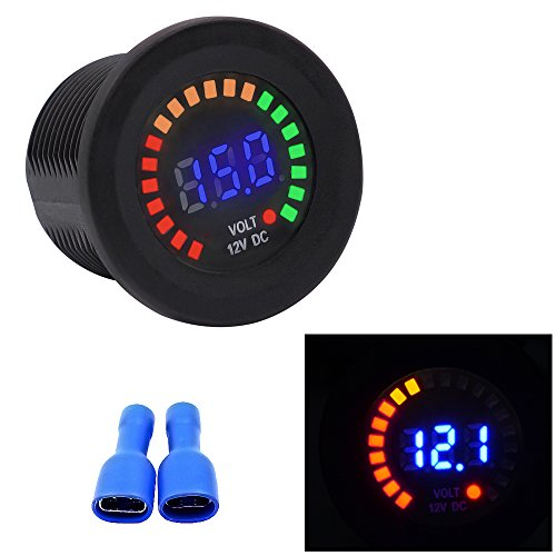 TopTen Fan-Motive LED Wasserdicht 12 V Digital Spannung Display Voltmeter Sockel Panel für Motorrad Auto Boot Marine Wohnmobil-Fahrzeuge Truck Camper Caravan Marine Power Sockel