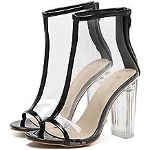 Liquidación de la venta! Sandalias de mujer Covermason transparente Peep Toe Botas cortas de plástico