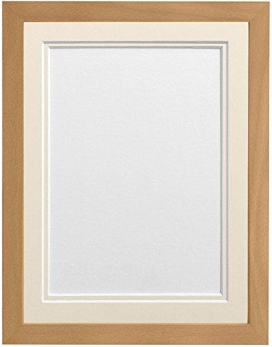 Frames By Post H7Bilderrahmen mit elfenbeinfarbenem Doppel-Passepartout für Bildgröße 4,5x 2,5, Buche, 6x 4-Zoll