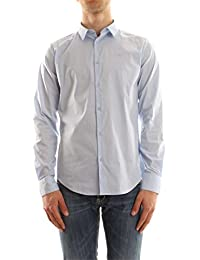Armani Jeans Long Sleeved Slim Fit Cotton Shirt Small LIGHT BLUE