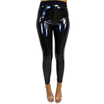 Sports High Waist Yoga Leggings Pants Mingfa Women Shiny Faux Leather Wet Full Length Stretchy