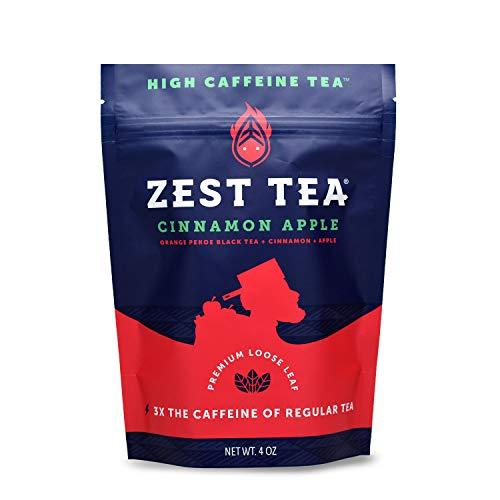 Zest Tea Premium Energy Tee mit viel Koffein - natürlicher, gesunder und koffeinhaltiger Energie Tee als perfekter Kaffeeersatz - 150 mg Koffein pro Portion - loser Apfel-Zimt Schwarzer Tee - 113 g
