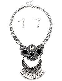 Young & Forever Navratri Jewellery & Diwali Gifts for Family and Friends Boho Gypsy Tribal Regalia Aztec Silver Plated Necklace Set with Earrings Necklace for Women (N80407)