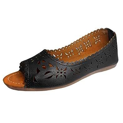 Thari Choice Woman Faux Leather Belly Shoe (Ind/Uk-3 (Eu-36), Black 2)